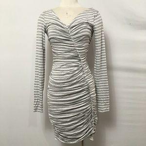Bailey 44 Bodycon Dress Ruched Gray White Stripe